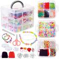 DoreenBow Jewelry Making Kit,Jewelry Making Supplies 7544PCS Include Jewelry Beads and Charms Findings Beading Wire for Necklace Bracelet Earrings Making Repair Jewelry Making Tools Kits for Adults