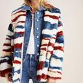 Anthropologie Jackets & Coats | Anthropologie Leona Faux Fur Coat Colorful Stripes | Color: Blue/Red | Size: L