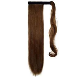 Perruques 24 pouces Clip en fibre synthétique en queue de cheval droite Perruque Extension de cheveux Postiche synthétique Loose Curly Front Perruque pour les femmes Cheveux naturels résistants à la