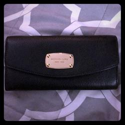Michael Kors Bags | Michael Kors Jet Set Slim Flap Leather Wallet | Color: Black | Size: Os