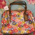 Coach Bags | Coach Multi Colored Floral Satchel | Color: Red/Tan | Size: 7.5 In H, 9 In W