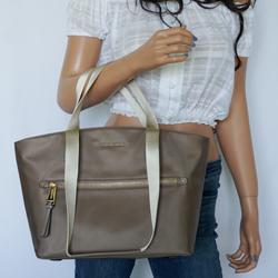 Michael Kors Bags | Michael Kors Polly Md Tote Nylon Tote Bag Dune | Color: Gray/Tan | Size: Os