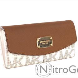 Michael Kors Bags | Michael Kors Jet Set Slim Flap Wallet Brand New | Color: Brown/White | Size: Os