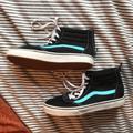 Vans Shoes | Kids Vans High Tops Black With Blue Detailing | Color: Black/Blue | Size: 3.5