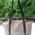 Gucci Bags | Gucci Abbey Monogram Gg Small Tote Leather Bag | Color: Gold | Size: Small