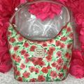 Dooney & Bourke Bags | Dooney Coated Leather Floral Satchel | Color: Gold/Green/Red/White | Size: 10.5x6x5