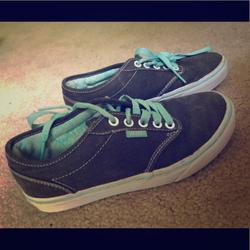 Vans Shoes | Gray Vans Highlighted With Blue Laces. | Color: Gray | Size: 6.5