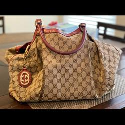Gucci Bags | Gucci Sukey Bag Large Authentic! One Of A Kind Red | Color: Brown/Red | Size: Os