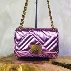 Michael Kors Bags | Michael Kors Vivianne Shoulder Flap Leather Bag | Color: Gold/Pink | Size: Medium