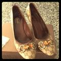 Gucci Shoes   Gucci Fabric High Heels   Color: Brown/Tan   Size: 9