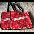 Lululemon Athletica Bags | Lululemon | Reusable Totes | Set Of 2 Large | Color: Red/White | Size: Os