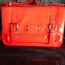Kate Spade Bags   Kate Spade Orange Patent Buckled Messenger Bag   Color: Orange   Size: L 10 X H 7 X W 2 12