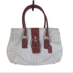 Coach Bags | Coach Hampton Soho Leather Flap Over Satchel | Color: Tan/White | Size: Os