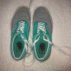 Vans Shoes | Blue, Gray, And White Polka Dot Vans | Color: Blue/Gray | Size: 8