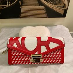 Michael Kors Bags | Michael Kors Large Leather Chain Envelope Wristlet | Color: Red/White | Size: Os