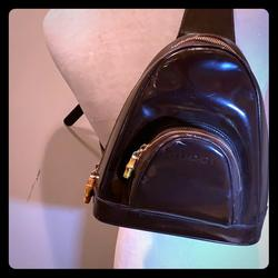 Gucci Bags   Gucci Bamboo Sling Black Patent Leather Backpack   Color: Brown   Size: 13l X 4w X 9h