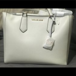 Michael Kors Bags | Mk 3 In 1 Tote -Tote, Leather Clutch And Mk Clutch | Color: Cream | Size: Os