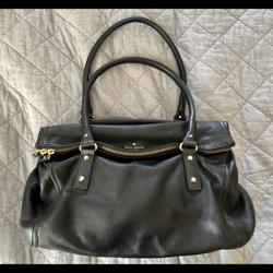 Kate Spade Bags | Kate Spade Black Leather Fold-Over Zip Flap Bag | Color: Black | Size: Os