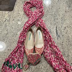 Louis Vuitton Shoes | Louis Vuitton Shoes ,Scarf And Lil Bag Set | Color: Pink | Size: 6.5