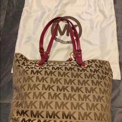 Michael Kors Bags | Michael Kors Monogram Mk Fuchsia Tote Bag | Color: Brown/Pink | Size: Medium Tote