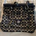 Coach Bags   Coach Signature Canvas Bag   Color: Black   Size: 14 Inches Wide X 11 Inches Tall X 4 Inches Deep