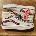 Vans Shoes | Nwob Vans Sk8 Hi Shoes - True Whiteracing Red | Color: Blue/Red | Size: Womens 6.5 And Mens 5