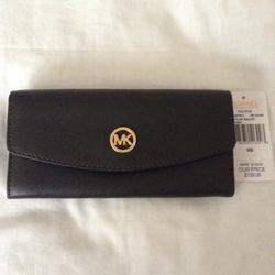 Michael Kors Bags   Michael Kors Fulton Slim Flap Wallet Dark Olive   Color: Brown/Gold   Size: Os
