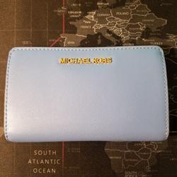 Michael Kors Bags   Michael Kors Jet Set Bifold Leather Wallet   Color: Blue   Size: 6.4w X 4w X 1.2d