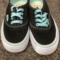 Vans Shoes | Classic Vans Black Shoes With Light Blue Trim | Color: Black/Blue | Size: 6