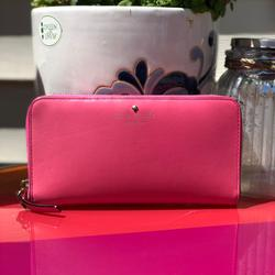 Kate Spade Bags | Kate Spade Pink Leather Wallet Clutch Leather | Color: Gold/Pink | Size: Os