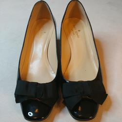 Kate Spade Shoes | Kate Spade Black Patent Leather W Bow Block Sz 9m | Color: Black | Size: 9
