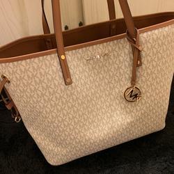 Michael Kors Bags   Michael Kors White & Tan Tote Purse   Color: Tan/White   Size: Medium Sized Tote Bag
