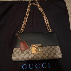 Gucci Bags | Gucci Brown And Black Padlock Medium Shoulder Bag | Color: Black/Brown | Size: Medium Shoulder Bag