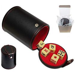 Set of Dice Cup with Storage Compartment Black PU Leather Red Felt Lined + (5) 16mm Poker Dice (Gift Boxed) (Spanish Poker (Squared Corners) - Bone)