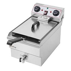 Deep Fryers, 8.5QT Fry Max Large Capacity Single Tank Deep Fryer Stainless Steel Faucet 60-Minute Timers Oil Filtration Electric Deep Fryer with Large Handle and Lid Cover for Commercial Use and Home