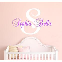"""Nursery Custom Name Wall Decal Sticker, 40"""" W by 28"""" H, Girl Name Wall Decal, Girls Name, Wall Decor, Personalized, Girls Name Decor, Girls Nursery, Girls Bedroom, Plus Free White Hello Door Decal"""