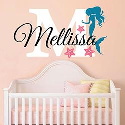 """Nursery Mermaid Personalized Custom Name and Initial Wall Decal Sticker 34"""" W by 24"""" H, Girl Name Wall Decal, Girls Name, Mermaids Wall Decor, Girls Decor, Girls Bedroom, Plus Free Hello Door Decal"""