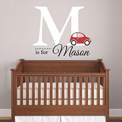 """Nursery Boys Name and Initial Car Personalized Name Wall Decal 36"""" W by 35"""" H, Boys Nursery Name Decals, Boys Cars Wall Decals, Boys Room Wall Stickers, Decals for Boys Plus Free Hello Door Decal"""