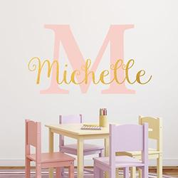 """Nursery Custom Name and Initial Wall Decal Sticker, 40"""" W by 23"""" H, Girl Name Wall Decal, Girls Name, Personalized, Girls Name Decor, Girls Nursery, Girls Bedroom, Plus Free White Hello Door Decal"""