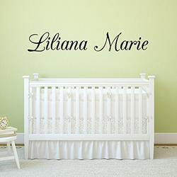 """Fancy Cursive Single Personalized Custom Name Vinyl Wall Art Decal Sticker 36"""" W, Girl Name Decal, Girls Name, Nursery Name, Girls Name Decor, Girls Bedroom Decor, PLUS FREE 12"""" WHITE HELLO DOOR DECAL"""