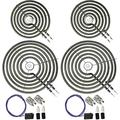 """6 Pack 2 WB30M1 (6"""") and 2 WB30M2 (8"""") Stove Burner Element with 2 WB17T10006 Element Receptacle Kit,Range Top Surface burner Unit Part Replacement kit for GE Hotpoint"""