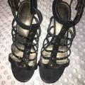 Nine West Shoes | Comfortable Nine West Open Toe Heels | Color: Black/Gold | Size: 8.5