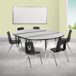 Flash Furniture 9 Piece Adjustable Height Novelty Activity TableLaminate/Metal, Size 30.2 H x 86.0 W x 60.0 D in | Wayfair