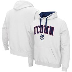 Men's Colosseum White UConn Huskies Arch & Logo 2.0 Pullover Hoodie, Size: 2XL