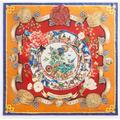 Dolce & Gabbana Twill Silk Foulard With Silk Road Print: 90 X 90Cm- 35 X 35 Inches