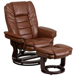 """Flash Furniture 32.75"""" Wide Faux Leather Manual Glider Ergonomic Recliner w/ OttomanFaux Leather/Stain Resistant/Water Resistant in Brown 