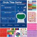 "INDRAK Circle Time Center Pocket Chart Calendar-Educational Pocket Chart Learning Shape - Color Classroom Pocket Chart-Number Pocket Chart Wording Rhyme Pictures Pocket Chart 39"" x 40.9"""