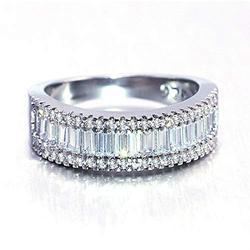 925 Sterling Silver Shiny Full Diamond Ring Cubic Zirconia Half Rings CZ Diamond Multi Row Ring Eternity Engagement Wedding Band Ring for Women (US Code 6)