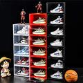 Socalsunny 6-Boxes Set Storage Shoes Box Heavy Duty Drop Front Sneaker Storage Box Case Plastic Foldable Stackable Display Container Bin Magnetic Closet Shelf Shoe Organizer Pack (Clear)