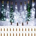 Olafus Wine Bottle Lights, 24 Pack 20 LEDs Cork Lights for Wine Bottles, Mini Fairy Lights Battery Operated Silver Wire Micro Starry String Light for Jar DIY Crafts Wedding Bar Decor Daylight White